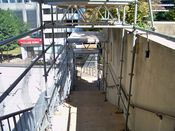 September 7, 2008: Sidewalk shed at Rosslyn Center, protecting pedestrians walking between Rosslyn Center and the skywalk over North Fort Myer Drive.