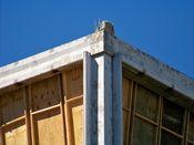 September 7, 2008: Southwest corner of building, showing the corner column, and the stub at the tenth floor slab.