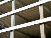 September 7, 2008: Horizontal and vertical reinforced concrete beams, and undersides of floor slabs.