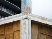 September 27, 2008: Southeast corner, showing stub of corner column.