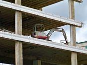 September 27, 2008: Heavy equipment stationed on the fourth floor slab.