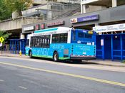 September 27, 2008: A Metrobus sits out of service at the bus stop next to the sidewalk shed.