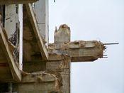 September 27, 2008: Stubs of reinforced concrete beams, having been truncated during earlier demolition.