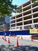 October 4, 2008: Cones set up along North Moore Street designate travel lanes for traffic.