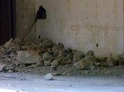 October 4, 2008: Concrete debris on a floor slab.