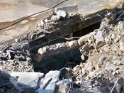 October 13, 2008: Remains of an underground parking garage west of where the main building once stood.