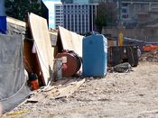 October 13, 2008: A tank, portable toilets, and other equipment at the eastern end of the site.