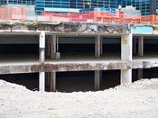 November 2, 2008: Two levels of a former parking garage that were left by the demolition contractor.