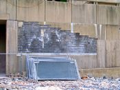 November 2, 2008: Section of bare cinderblocks on the wall of Rosslyn Center.