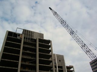 A crane stands nearby.