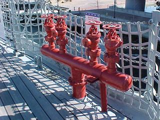 The Wisconsin's water system is color-coded. Here, the red color indicates that these outlets are used for fire suppression.