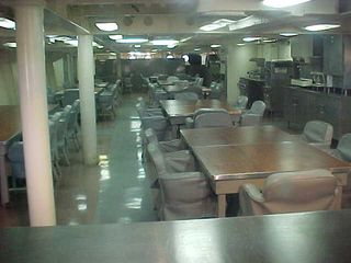 This is the mess hall on the Wisconsin. The appearance is spartan, but the chairs do look comfortable. Wonder how the food is on board...