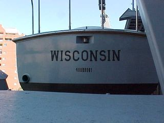 The Wisconsin's small boats, one of which is seen here, serve many purposes, including rescuing overboard sailors, ferrying sailors from ship to shore, etc.