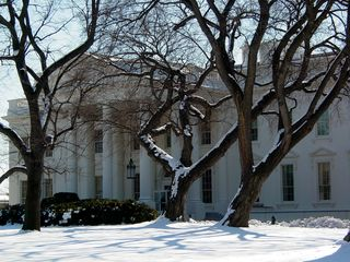 """The major feature on this side of the White House is the North Portico, constructed in 1829 during the administration of Andrew Jackson, otherwise known as """"Old Hickory""""."""