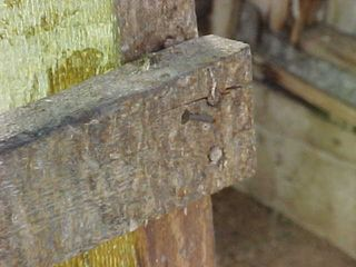 The second reason I didn't go up to the upper level was the condition of the ladder. Some of the rungs were in questionable shape, and so when you see parts of the ladder only being held up by only one secure nail, coupled with the previous observation, it's not worth the safety risk.